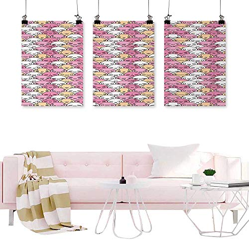 Jouiysce Triptych Wall Art Abstract Anime,Pattern with Funny Kawaii Faces Showing Various Different Emotions,Pale Pink Peach and White Wall Canvas Modern Living Room -
