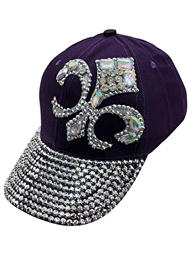 Purple Baseball Cap with Rhinestone Fleur De Lis