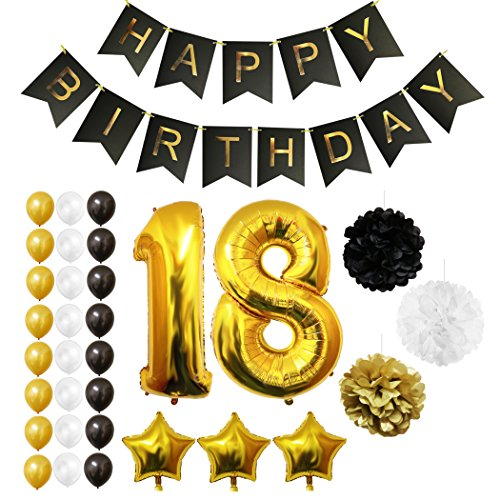 18th Happy Birthday Party Balloons, Supplies & Decorations by Belle Vous - All-in-One Set - Large 18 Years Foil Balloon - Gold, White and Black Latex Balloon Decoration - Decor Suitable for All Adults