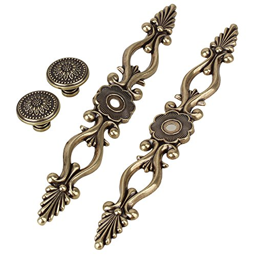 BQLZR 220 x 29mm Antique Green Bronze Elegant Floral Cabinet Door Drawer Handles Wardrobe Pull Knobs Without Screws Pack of 2
