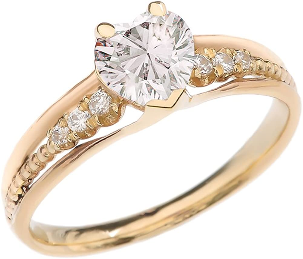 April birthstone Anniversary ring with Diamond K14 K10 or Silver