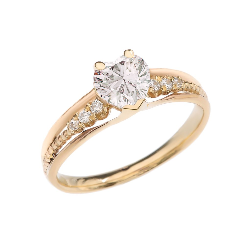 Dazzling 10k Yellow Gold Diamond And April Birthstone Heart Beaded Promise Ring (Size 5.75) by Dainty and Elegant Gold Rings
