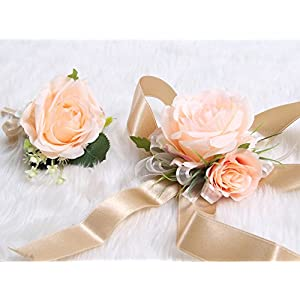Wedding Prom Wrist Corsage Single Silk rose and Boutonniere Set Pin Ribbon Included (Classic Oldrose theme) 4