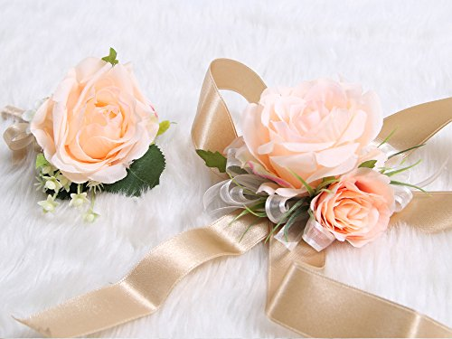 Wedding-Prom-Wrist-Corsage-Single-Silk-rose-and-Boutonniere-Set-Pin-Ribbon-Included-Classic-Oldrose-theme