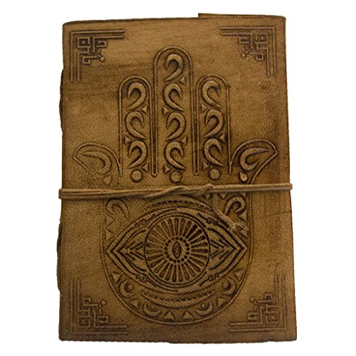 Hamsa Hand Leather Journal - 5 by 7 inches - Blank Pages - Hamsa Leather