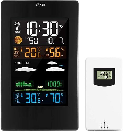 HLDUYIN Estación Meteorológica Reloj Multifuncional Termómetro Digital Higrómetro Sensor Inalámbrico LCD Alarma De Color Calendario Reloj De Mesa De Pared Reloj De Escritorio: Amazon.es: Deportes y aire libre