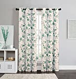 Cheap 2 Blackout Room Darkening Window Curtains Grommet Panel Pair Drapes Thermal Floral Teal Taupe 84""