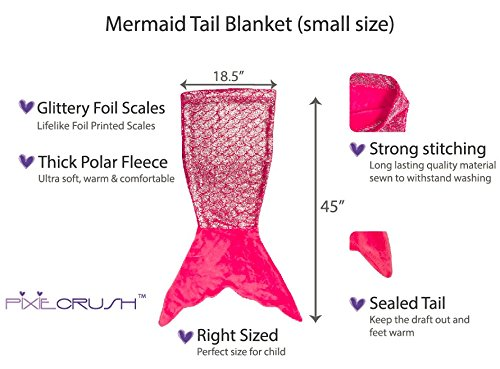 PixieCrush Mermaid Tail Blanket For Teenagers/Adults & Kids Thick, Plush Super Comfy Fleece Snuggle Blanket With Double Stitching, Keep Feet Warm (Small, Shiny Pink) by PixieCrush (Image #2)