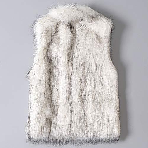 Collar Vest Coat Sleeveless Turn Jacket Faux Fashion Lazzboy Waistcoat Grey Womens Down Gilet Fur qzvAR0w