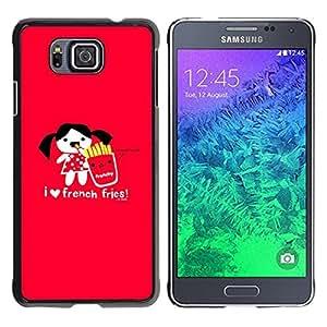 TECHCASE**Cubierta de la caja de protección la piel dura para el ** Samsung GALAXY ALPHA G850 ** Love Funny Junk Food Cartoon Red Heart