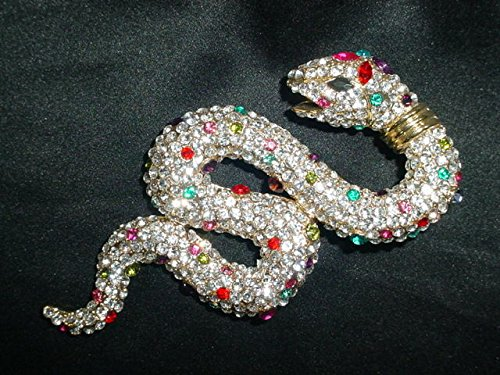Mystical Serpent Multicolor Crystal Snake Pin/Brooch Scarf Clips Corsage Jewelry for Lady, Pendant (Snake Charmer Outfit)