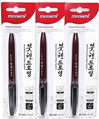 3pcs Monami Calligraphy Brush Pen, Training Drawing Tip, Kanji Tip Pen