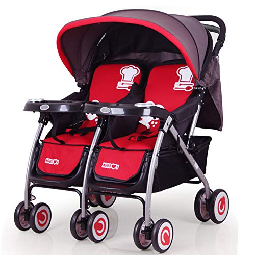 CHHMAELOVE Tandem Pushchairs,Adjustable Twin Baby Stroller Backrest Foldable Double Trolley Comfortable Prams Side by Side,Red