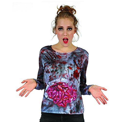 YOU LOOK UGLY TODAY Women's Halloween Party Costumes Fancy Dress 3D Printing T-Shirt Horror Zombie Lady Pattern