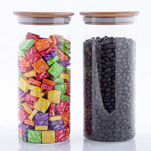 Stackable Glass Food Storage Jars With Airtight Lids, Bulk Food Storage Set with Bamboo Lid, Glass Kitchen Canister for Preserves, Candy, Tea, Flour, Coffee Bean, Cookies, Snack, 60 oz, Set of 2