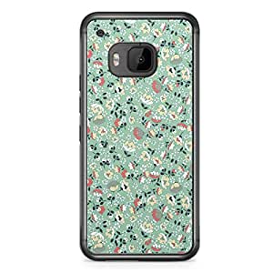 Floral HTC One M9 Transparent Edge Case - Light Green