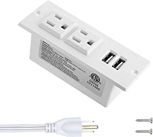 Recessed Power Strip with USB Mountable Power Strip with USB 2 Power Outlets 2 USB Hub Built in Desk Table Coneference Sofa Cabinet Drawer