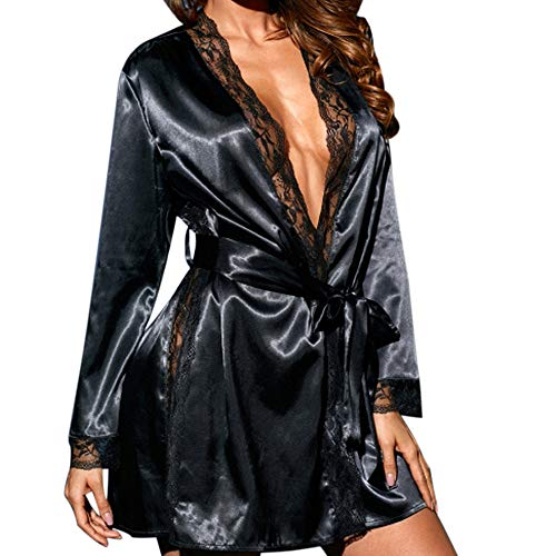 POQOQ Sleepwear Women Sexy Silk Babydoll Lace Lingerie Bath Robe Nightwear XS Black