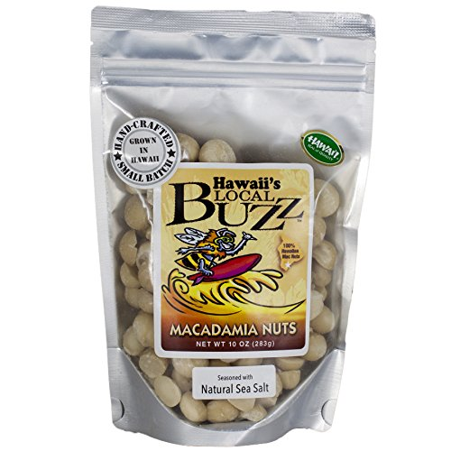 Hawaii's Local Buzz Natural Macadamia Nuts, Sea Salt, 10 Ounce