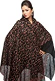 Originals Kashmir 100% Pure Handmade Pashmina Border Embroidery Black Stole Shawl Scarf Wrap
