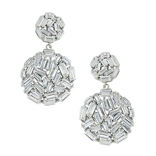 Round Disc Drop (Platinum Plated 925 Sterling Silver Baguette Cubic Zirconia Two Round Disc Drop Dangle Earrings)