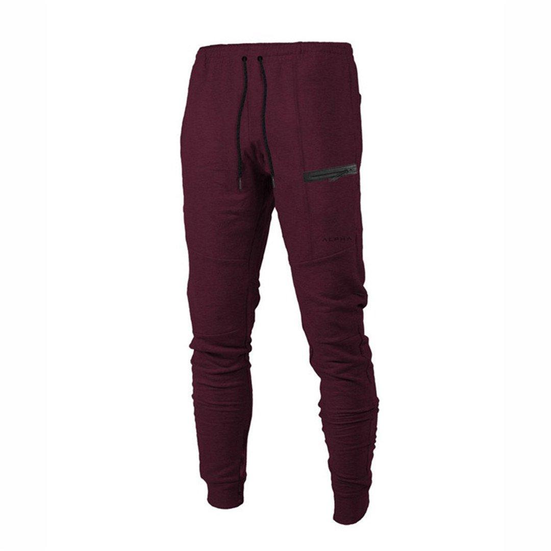 Casual Leggings Bodybuilding Gym Pants Red L