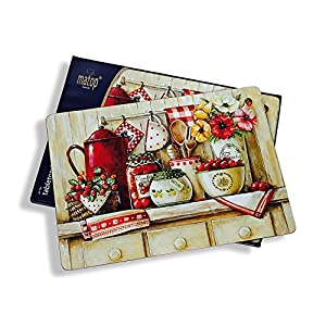 The French Country Kitchen Placemats Set Of 4 Cork Backed Board Heat Resistant Rustic Home Style 16 X 11 ¼ By Whole House Worlds