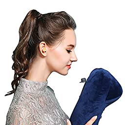 MLVOC Inflatable Neck Pillow with Ear Plugs, Eye Mask and Drawstring Bag