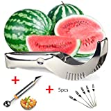 Watermelon Slicer Cutter Corer Server,Melon Baller Scoop Fruit Carving (2 in 1),Bonus 5 Fruit Forks-Premium Thicker Stainless Steel-Dishwasher Safe Kitchen Tools as Seen on TV by AttoPro