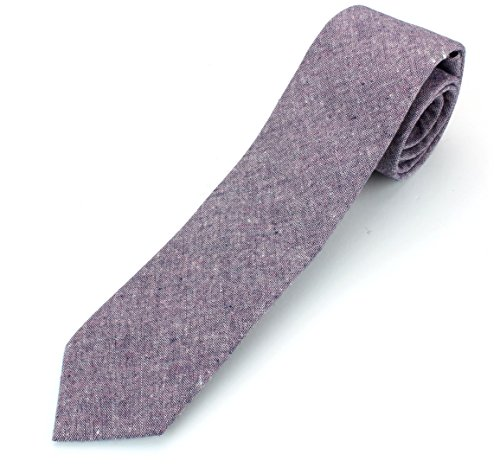 Men's Chambray Cotton Skinny Necktie Tie Textured Distressed Style - 20 - (Purple Skinny Tie)