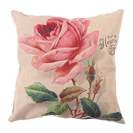 Amazon.com: eDealMax Patrón lino Rosa Flor Inglés Decoración ...