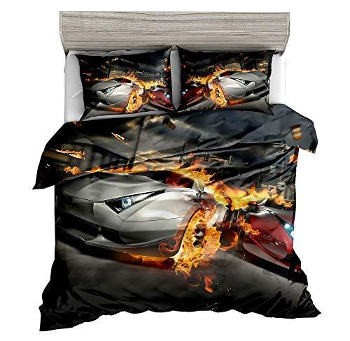 SxinHome Speed Sport Car Bedding Set Teen Boys, Duvet Cover Set,3pcs 1 Duvet Cover 2 Pillowcases(no Comforter Inside), Twin Size