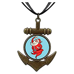 Chicforest Bronze Retro Style Happy Santa Claus Anchor Pendant