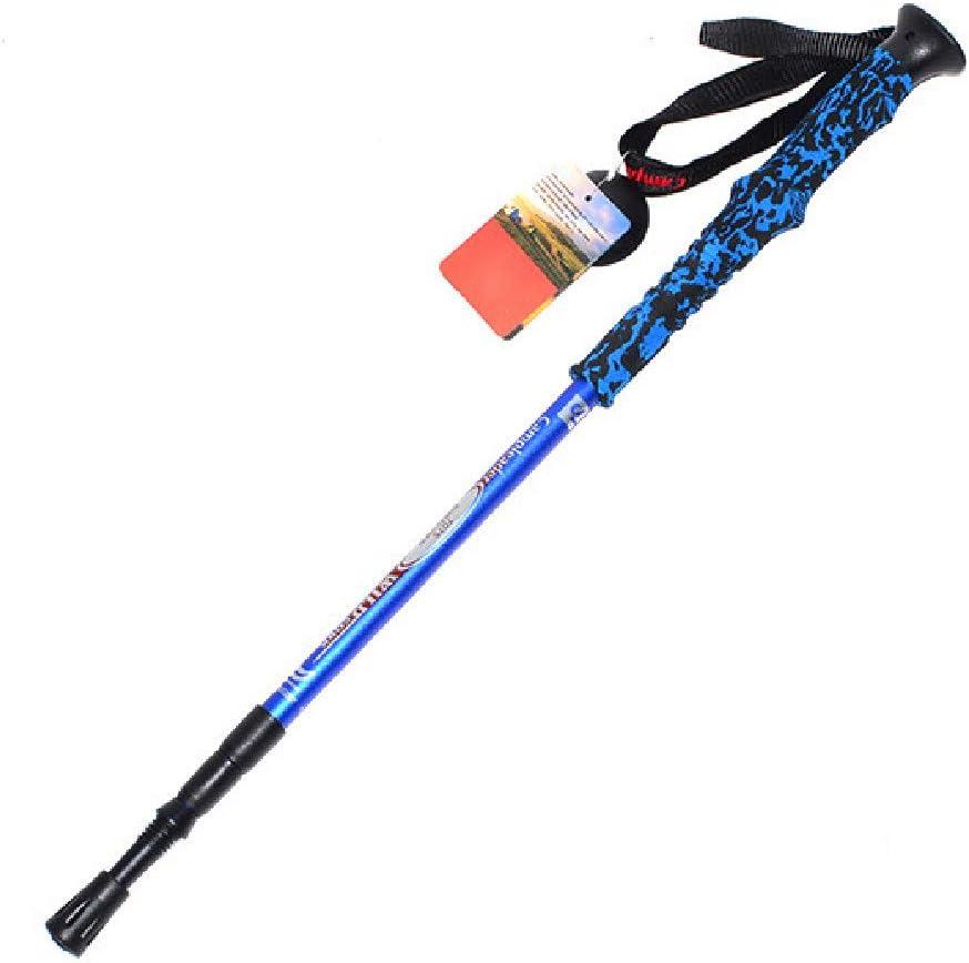 YHDQ Bastón de Trekking, Ultraligero para Exteriores Mangos de Colores Bastones de esquí ultraligeros de Tres Secciones Longitud de muletas: 66-135cm-blue