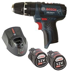 Bosch GSB 10,8–2-LI–Atornillador inalámbrico con 2x Batería 10,8V 2,0Ah + Cargador al 1130CV sin L-Boxx pero (con L-Boxx