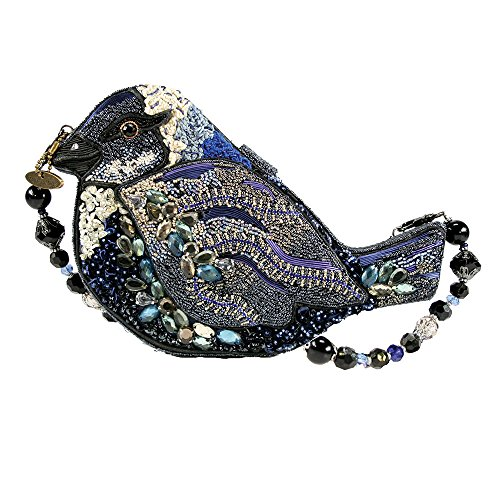 Handbag Blue White Black Song Jeweled Novelty Mary Shoulder Bird Bag Beaded Frances qxzAOt