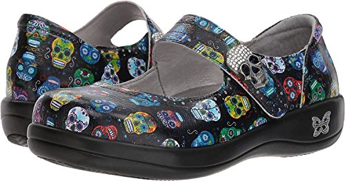 Alegria Womens Kourtney Mary Jane, Sugar Skulls, Size 37 W EU (7-7.5 C/D US Women) by Alegria