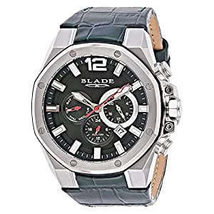 Blade Men's Black Dial Genuine Leather Band Watch - 3503G