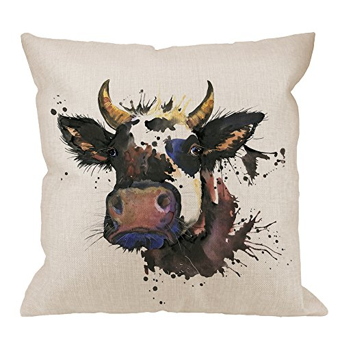 HGOD DESIGNS Cow Pillow Cover,Decorative Throw Pillow Watercolor Graphics Cow with Splash Pillow cases Cotton Linen Outdoor Indoor Square Cushion Covers For Home Sofa couch 18x18 inch Black Brown (Pillows Throw Shop)