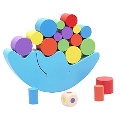 Wooden Stacking Blocks Balancing Game,Moon Equilibrium Game,Sorting Toy Balancing Moon Toy for Kids, Babies, Girls, Boys: Toys & Games