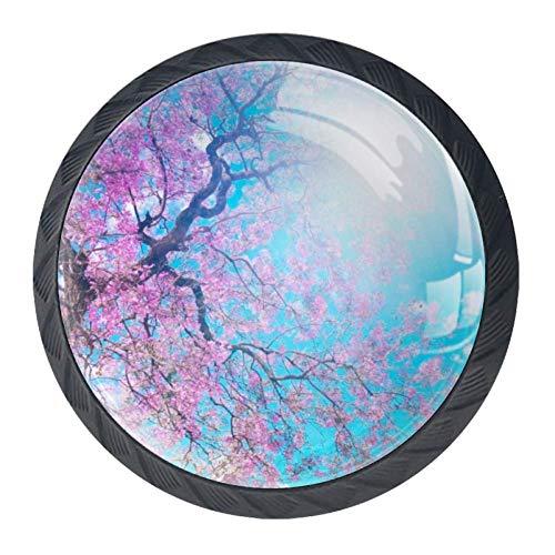 (Idealiy Sunshine Cherry Blossom Cabinet Door Knobs Handles Pulls Cupboard Handles Drawer Wardrobe 4pcs)