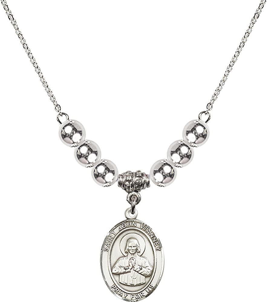 18-Inch Rhodium Plated Necklace with 6mm Sterling Silver Beads and Sterling Silver Saint John Vianney Charm.