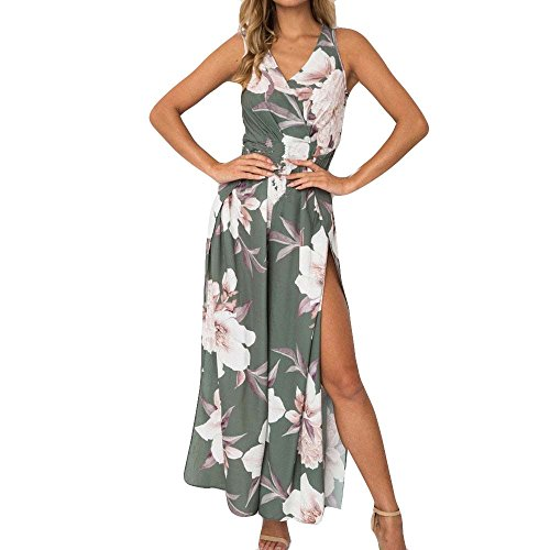 【MOHOLL】 Women's Strap Floral Print Lace Up Backless Deep V Neck Sexy Split Beach Maxi Dress Gray