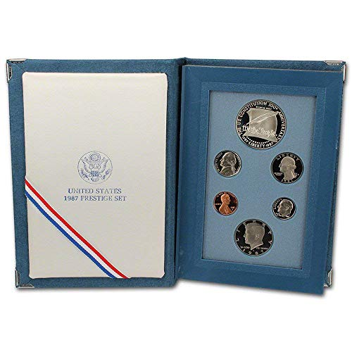 1987 US Mint Prestige Proof Set Original Government Packaging with Silver Constitution Dollar Proof ()