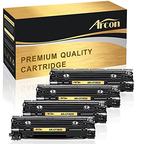 ARCON 4 Packs High Yield 83X CF283X (83A CF283A) Compatible for HP 83X CF283X M127fn Toner Cartridge Replacement for HP Laserjet PRO MFP M201dw M127fn M127fw M225dw M225dn M125nw MFP M225dw Black (Hp 83a Toner)