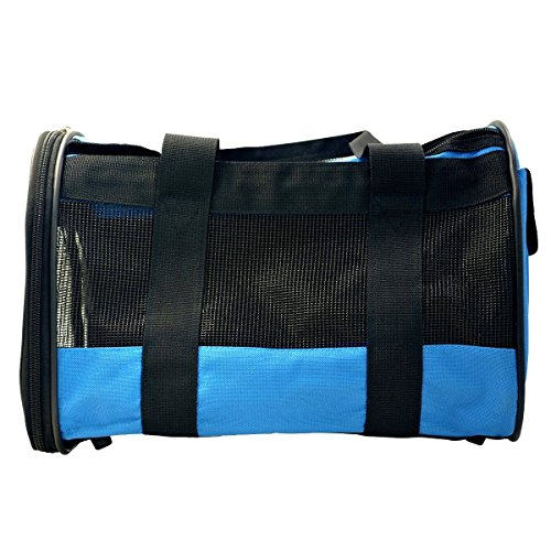 Premium Pet Travel Carrier for Dogs and Cats Comfort Airline Approved Tote Soft Sided Travel Bag by Hippih ,Blue