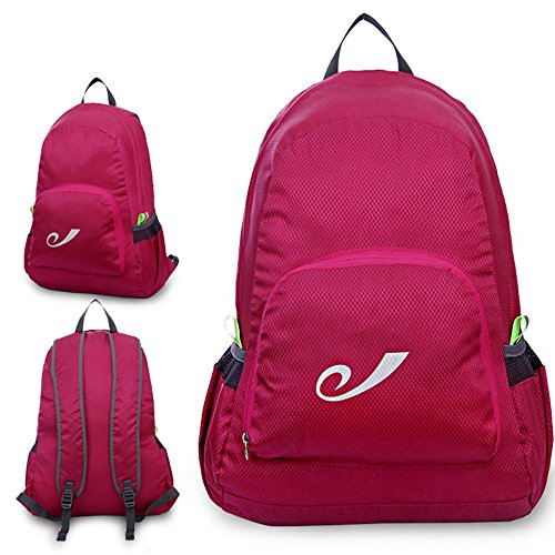 Micmall Couple Handy Durable Packable Lightweight Travel Hiking Backpack Daypack Rosy