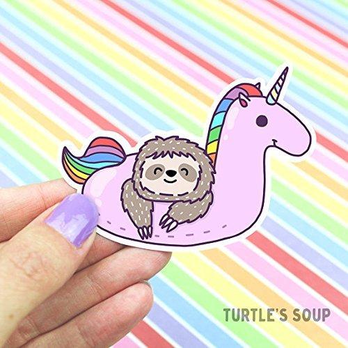 Sloth Sticker, Cute Unicorn Sticker, Rainbow Sticker,Skateboard Sticker, Decorative Stickers ,Pool Party Sticker, Kawaii Unicorn, Pool Float