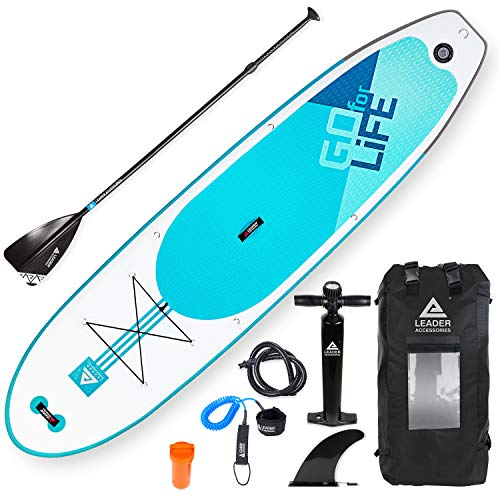 """Leader Accessories 10'6"""" and 11'2"""" Inflatable Stand Up Board with Fins (6"""" Thick) Includes Adjustable Paddle,Kayak Leash,ISUP Backpack,Pump with Gauge (C-Aqua, 10'6'')"""