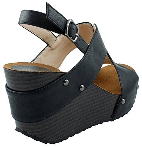 Cambridge Select Femmes Bout Ouvert À Lacets Slingback Plateforme Cloutée Sandale Compensée Noir
